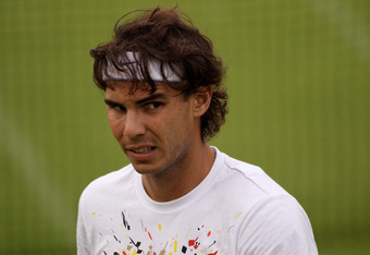 LONDON, ENGLAND - JUNE 28:  Rafael Nadal of Spain practices on Day Eight of the Wimbledon Lawn Tennis Championships at the All England Lawn Tennis and Croquet Club on June 28, 2011 in London, England.  (Photo by Oli Scarff/Getty Images)