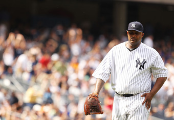 NEW YORK, NY - JUNE 25:  CC Sabathia #52 of the New York Yankees walks off the fiield after pitching eight innings against the Colorado Rockies during their game on June 25, 2011 at Yankee Stadium in the Bronx borough of New York City.  (Photo by Al Bello