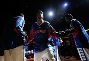 AUBURN HILLS, MI - APRIL 26:  Richard Hamilton #32 of the Detroit Pistons is introduced prior to Game Four of the Eastern Conference Quarterfinals against the Cleveland Cavaliers during the 2009 NBA Playoffs at the Palace of Auburn Hills on April 26, 2009