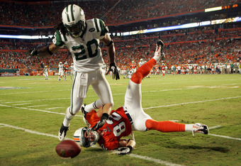 Jets cornerback Kyle Wilson after making a hit on a Miami receiver.