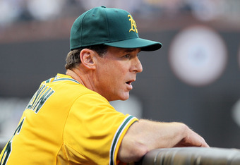 NEW YORK, NY - JUNE 21:  Manager Bob Melvin of the Oakland Athletics looks on during the second inning against the New York Mets at Citi Field on June 21, 2011 in the Flushing neighborhood of the Queens borough of New York City.  (Photo by Jim McIsaac/Get