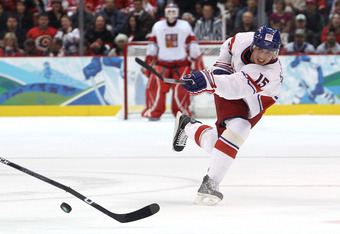 Tomas Kaberle takes a shot for the Czech Republic during the 2010 Winter Olympics.