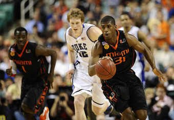 GREENSBORO, NC - MARCH 13:  DeQuan Jones #31 of the University of Miami Hurricanes runs upcourt against the Duke Blue Devils in their semifinal game in the 2010 ACC Men's Basketball Tournament at the Greensboro Coliseum on on March 13, 2010 in Greensboro,
