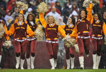 LANDOVER, MD - DECEMBER 12:  Cheerleaders for the Washington Redskins perform a dance during the game against the Tampa Bay Buccaneers  at FedExField on December 12, 2010 in Landover, Maryland. The Buccaneers defeated the Redskins 17-16. (Photo by Larry F