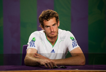 LONDON, ENGLAND - JULY 01:  Andy Murray of Great Britain attends a press conference after defeat in his semifinal round match against Rafael Nadal of Spain on Day Eleven of the Wimbledon Lawn Tennis Championships at the All England Lawn Tennis and Croquet