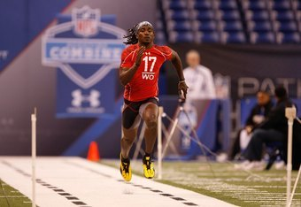 INDIANAPOLIS, IN - FEBRUARY 28: Wide receiver Marshawn Gilyard of Cincinnati runs the 40 yard dash during the NFL Scouting Combine presented by Under Armour at Lucas Oil Stadium on February 28, 2010 in Indianapolis, Indiana. (Photo by Scott Boehm/Getty Im