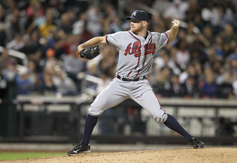 NEW YORK, NY - JUNE 03:  Jonny Venters #38 of the Atlanta Braves against the New York Mets at Citi Field on June 3, 2011 in the Flushing neighborhood of the Queens borough of New York City.  (Photo by Nick Laham/Getty Images)