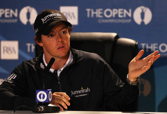 SANDWICH, ENGLAND - JULY 12:  Rory McIlroy of Northern Ireland answers questions at a press conference during the second practice round during The Open Championship at Royal St. George's on July 12, 2011 in Sandwich, England. The 140th Open begins on July