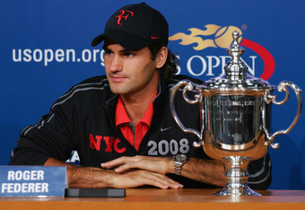 NEW YORK - SEPTEMBER 08:  Roger Federer of Switzerland speaks to the media after defeating Andy Murray of the United Kingdom during 2008 U.S. Open Men's Championship Match in Arthur Ashe Stadium at the USTA Billie Jean King National Tennis Center on Septe