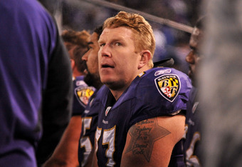 BALTIMORE, MD - DECEMBER 05:  Center Matt Birk #77 of the Baltimore Ravens looks on from the sidelines during the third quarter of the game against the Pittsburgh Steelers at M&T Bank Stadium on December 5, 2010 in Baltimore, Maryland.  (Photo by Larry Fr