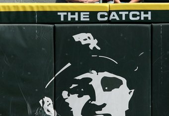 CHICAGO - AUGUST 06:  The words 'The Catch' are seen above the likeness of former Chicago White Sox player Billy Pierce #19 against the Los Angeles Angels of Anaheim at U.S. Cellular Field on August 6, 2009 in Chicago, Illinois. 'The Catch' referes to the