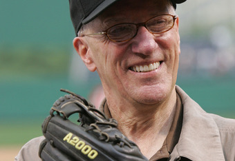 Emrick will have more time to enjoy the recent resurgence of the Pittsburgh Pirates this season.  Pictured above is when Emrick threw out the ceremonial pitch before a Pirates game.