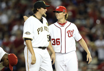 PHOENIX, AZ - JULY 12:  National League All-Star Joel Hanrahan #52 of the Pittsburgh Pirates and National League All-Star Tyler Clippard #36 of the Washington Nationals celebrate the National League 5-1 victory during the 82nd MLB All-Star Game at Chase F