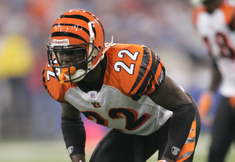 INDIANAPOLIS - SEPTEMBER 1:  Cornerback Johnathan Joseph #22 of the Cincinnati Bengals waits for the snap during the game against the Indianapolis Colts at the RCA Dome in Indianapolis, Indiana, on September 1, 2006. The Bengals won 20-3.  (Photo by Andy