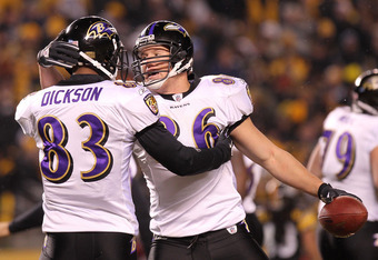 PITTSBURGH, PA - JANUARY 15:  Tight end Todd Heap #86 of the Baltimore Ravens celebrates with tight end Ed Dickson #83 after scoring on a four-yard touchdown pass against the Pittsburgh Steelers in the second quarter of the AFC Divisional Playoff Game at