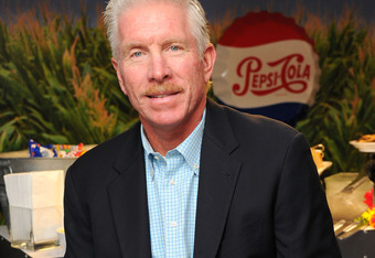 NEW YORK, NY - APRIL 18:  MLB great Mike Schmidt debuts the new Pepsi Max MLB ad campaign with Ozzie Smith and Rollie Fingers featuring an All Star cast of baseball legends and current players at the MLB Fan Cave on April 18, 2011 in New York City.  (Phot