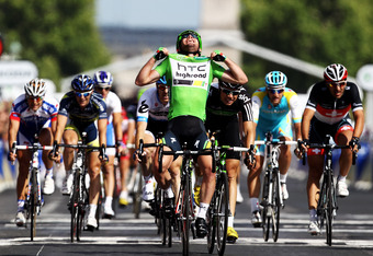 PARIS, FRANCE - JULY 24:  Mark Cavendish of team HTC wins the final sprint and the green points jersey during the twenty first and final stage of Le Tour de France 2011, from Creteil to the Champs-Elysees in Paris on July 24, 2011 in Paris, France.  (Phot