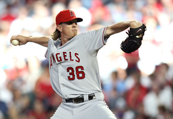 PHOENIX, AZ - JULY 12:  American League All-Star Jered Weaver #36 of the Los Angeles Angels pitches in the first inning of the 82nd MLB All-Star Game at Chase Field on July 12, 2011 in Phoenix, Arizona.  (Photo by Christian Petersen/Getty Images)