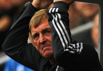 Dalglish looking decidedly unimpressed at Liverpool's defending