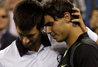 NEW YORK - SEPTEMBER 13:  (L-R) Runner up Novak Djokovic of Serbia congratulates Rafael Nadal of Spain after being defeated by him in their men's singles final on day fifteen of the 2010 U.S. Open at the USTA Billie Jean King National Tennis Center on Sep