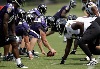 OWINGS MILLS, MD - JULY 29: Members of the Baltimore Ravens line up during drills at the teams training camp on July 29, 2011 in Owings Mills, Maryland.  (Photo by Rob Carr/Getty Images)