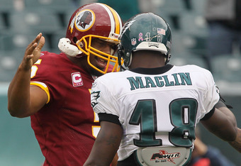 PHILADELPHIA - OCTOBER 03:  Donovan McNabb #5 of the Washington Redskins greets Jeremy Maclin #18 of the Philadelphia Eagles prior to their game on October 3, 2010 at Lincoln Financial Field in Philadelphia, Pennsylvania.  (Photo by Jim McIsaac/Getty Imag