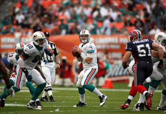MIAMI - DECEMBER 19:  Quarterback Chad Henne #7 of the Miami Dolphins throws against the Buffalo Bills at Sun Life Stadium on December 19, 2010 in Miami, Florida. The Bills defeated the Dolphins 17-14.  (Photo by Marc Serota/Getty Images)