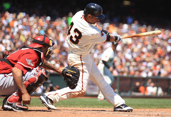 SAN FRANCISCO, CA - AUGUST 03: Orlando Cabrera #43 of the San Francisco Giants hits a two run double in the fifth inning against the Arizona Diamondbacks at AT&T Park on August 3, 2011 in San Francisco, California.  (Photo by Jed Jacobsohn/Getty Images)