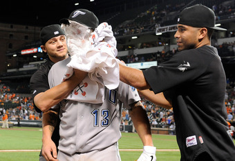 BALTIMORE, MD - AUGUST 05:  Brett Lawrie #13 of the Toronto Blue Jays is shaving creamed by teammates after a 5-4 Toronto victory in his major league debut against the Baltimore Orioles at Oriole Park at Camden Yards on August 5, 2011 in Baltimore, Maryla