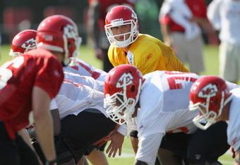 SAINT JOSEPH, MO - JULY 31:  Quarterback Matt Cassel #7 practices during Kansas City Chiefs Training Camp on July 31, 2011 in Saint Joseph, Missouri.  (Photo by Jamie Squire/Getty Images)