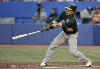 TORONTO, CANADA - AUGUST 9:  Hideki Matsui #55 of the Oakland Athletics bats during MLB game action against the Toronto Blue Jays August 9, 2011 at Rogers Centre in Toronto, Ontario, Canada. (Photo by Brad White/Getty Images)