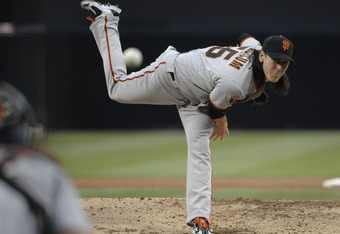 SAN DIEGO, CA - JULY 15: Tim Lincecum #55 of the San Francisco Giants pitches during the second inning of a baseball game against the San Diego Padres at Petco Park on July 15, 2011 in San Diego, California.  (Photo by Denis Poroy/Getty Images)