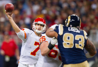 ST. LOUIS, MO - DECEMBER 19: Matt Cassel #7 of the Kansas City Chiefs passes against the St. Louis Rams at the Edward Jones Dome on December 19, 2010 in St. Louis, Missouri.  The Chiefs beat the Rams 27-13.  (Photo by Dilip Vishwanat/Getty Images)
