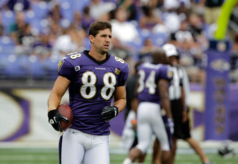 BALTIMORE, MD - AUGUST 06: Dennis Pitta #88 of the Baltimore Ravens looks on during training camp at M&T Bank Stadium on August 6, 2011 in Baltimore, Maryland.  (Photo by Rob Carr/Getty Images)