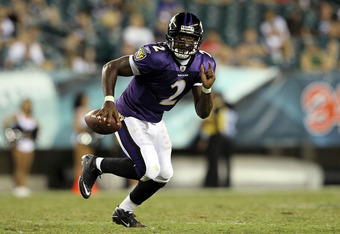 PHILADELPHIA, PA - AUGUST 11:  Tyrod Taylor #2 of the Baltimore Ravens runs the ball against the Philadelphia Eagles during their pre season game on August 11, 2011 at Lincoln Financial Field in Philadelphia, Pennsylvania.  (Photo by Jim McIsaac/Getty Ima