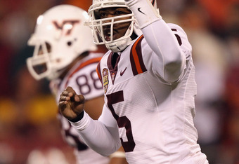 CHARLOTTE, NC - DECEMBER 04:  Tyrod Taylor #5 of the Virginia Tech Hokies against the Florida State Seminoles during their game at Bank of America Stadium on December 4, 2010 in Charlotte, North Carolina.  (Photo by Streeter Lecka/Getty Images)