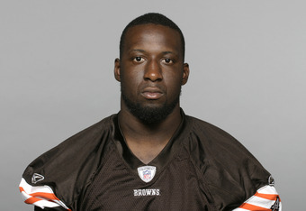 BEREA, OH - CIRCA 2010: In this handout image provided by the NFL,  Titus Brown of the Cleveland Browns  poses for his 2010 NFL headshot circa 2010 in Berea, Ohio. (Photo by NFL via Getty Images)
