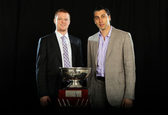 Schneider & Luongo with the William Jennings Trophy