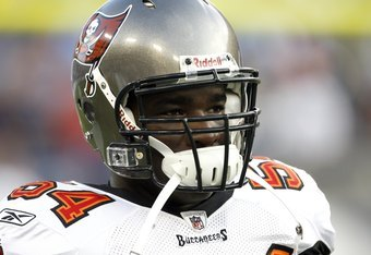 NASHVILLE, TN - AUGUST 15: Geno Hayes #54 of the Tampa Bay Buccaneers looks on against the Tennessee Titans during a preseason NFL game at LP Field on August 15, 2009 in Nashville, Tennessee. The Titans beat the Buccaneers 27-20. (Photo by Joe Murphy/Gett