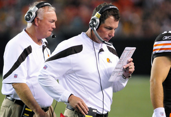 CLEVELAND, OH - AUGUST 13: Head coach Pat Shurmur of the Cleveland Browns stands on the sideline during the third quarter against the Green Bay Packers at Cleveland Browns Stadium on August 13, 2011 in Cleveland, Ohio. The Browns defeated the Packers 27-1