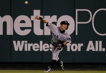 ANAHEIM, CA - AUGUST 06:  Right fielder Ichiro Suzuki #51 of the Seattle Mariners makes a throw from the outfield in the game against the Los Angeles Angels of Anaheim on August 6, 2011 at Angel Stadium in Anaheim, California.  (Photo by Stephen Dunn/Gett