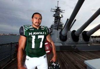 Bryant Moniz on the deck of the USS Missouri. Photo Credit: UH Media Relations