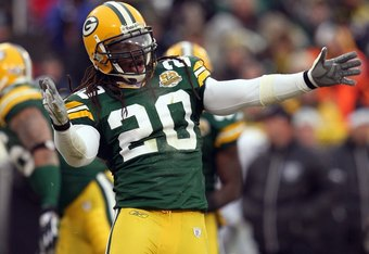 GREEN BAY, WI - DECEMBER 09: Atari Bigby #20 of the Green Bay Packers reacts on the field against the Oakland Raiders on December 9, 2007 at Lambeau Field in Green Bay, Wisconsin. The Packers defeated the Raiders 38-7 to win the NFC North Division title.