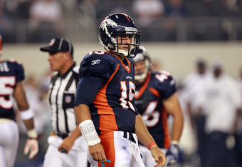 ARLINGTON, TX - AUGUST 11:  Tim Tebow #15 of the Denver Broncos at Cowboys Stadium on August 11, 2011 in Arlington, Texas.  (Photo by Ronald Martinez/Getty Images)