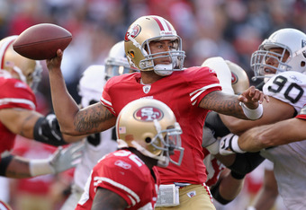 SAN FRANCISCO, CA - AUGUST 20:  Colin Kaepernick #7 of the San Francisco 49ers passes the ball against the Oakland Raiders at Candlestick Park on August 20, 2011 in San Francisco, California.  (Photo by Ezra Shaw/Getty Images)