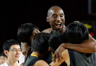 SEOUL, SOUTH KOREA - JULY 14:  NBA player Kobe Bryant #24 of the Los Angeles Lakers participates in an teaching session for South Korean fans during a promotional tour of South Korea at the Korea University on July 14, 2011 in Seoul, South Korea.  (Photo by Chung Sung-Jun/Getty Images)