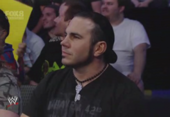 Matt Hardy looks on from the crowd