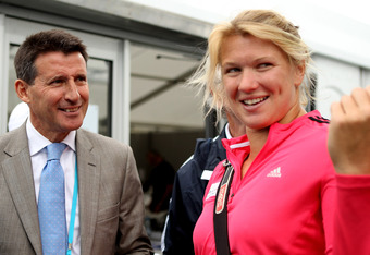LOCOG chairman Lord Sebastian Coe meets with Lucy Boulton of Great Britain (Photo by Scott Heavey/Getty Images)