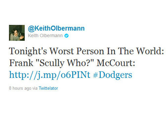 Screenshot of Keith Olbermann's tweet about Frank Mccourt.