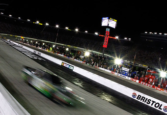 BRISTOL, TN - AUGUST 21:  Kyle Busch, driver of the #18 Doublemint Toyota, leads the field during the NASCAR Sprint Cup Series IRWIN Tools Night Race at Bristol Motor Speedway on August 21, 2010 in Bristol, Tennessee.  (Photo by Jason Smith/Getty Images)